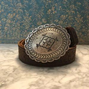 Tooled Leather Western Belt